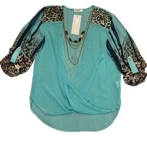 NWT HEJAR Sheer Wrap Blouse With Chain Necklace